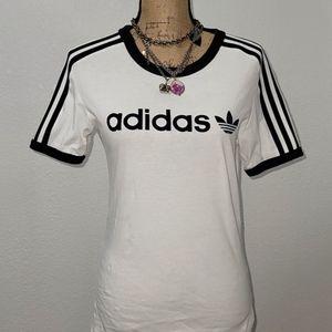 Adidas White With Black Stripe Sleeves, Blue Label Tee-shirt